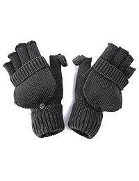 Winter Fingerless Flap Knit Mitten Gloves - Charcoal
