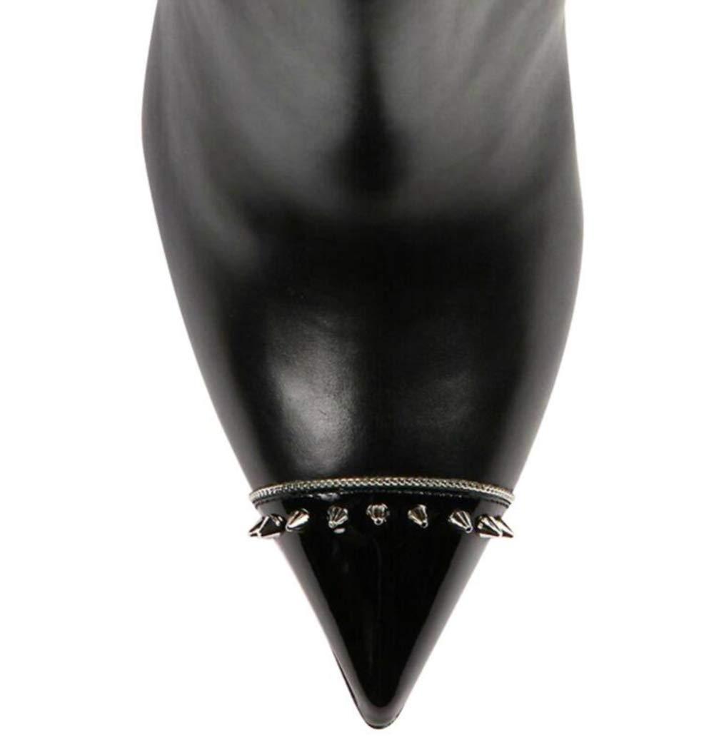 Shiney Frauen Spitz Nieten Schwarz Stiletto Stiefeletten Große Größe Größe Größe Nach Maß Modell Schuhe Kleid Schuhe b59452