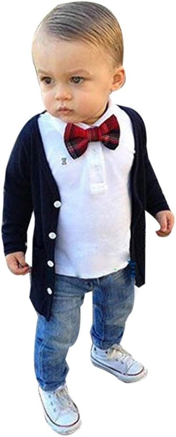 Malloom 1 sets bebé niños manga larga corbata de lazo camiseta ...