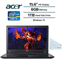 2018 Acer Flagship Aspire 3 Laptop 15.6 HD Display, Intel HD Graphics 620, Intel Core i5-7200U 2.5 GHz, 6 GB DDR4 SDRAM Memory, 1 TB HDD, Win 10, With Hesvap Microfiber Cleaning Cloth