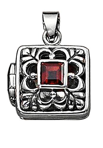 Sterling Silver Womens 20'' 1mm Box Chain Open Filigree Square Locket Pendant Necklace Garnet by Auntie's Treasures