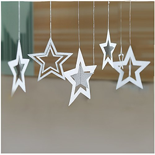 Lacheln Twinkle Twinkle Little Star Hanging Decorations for Baby Shower Birthday Christmas Xmas Party Deocr,Glitter Silver, 14 Pcs ()