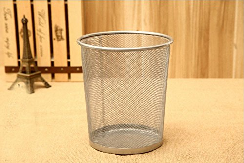EDTara Wire Mesh Dustbin Office Metal Garbage Can Study Room Wastepaper Basket Silver by EDTara