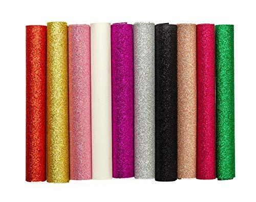 [해외]MeCan 반짝이 가죽 시트 10 색 극상 반짝 가짜 패브릭 캔버스 공예 DIY 수 제 보석에 대 한 완벽 한 / MeCan Glitter Leather Sheets 10 Colors Superfine Shiny Faux Fabric Canvas Perfect for Craft DIY Handmade Jewelry