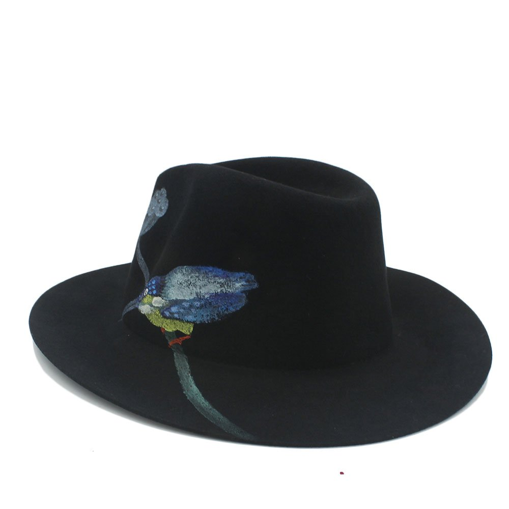 066c016e5f4 Ruiyue 100% Wool Winter Hand-Painted Flowers Fedora Hat for Women (Color :  1, Size : 57cm-59cm): Amazon.co.uk: Clothing