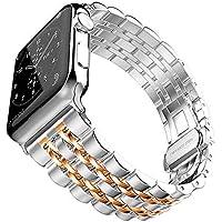 Apple Watch 44mm Renkli Desenli Metal Kordon Rosegold