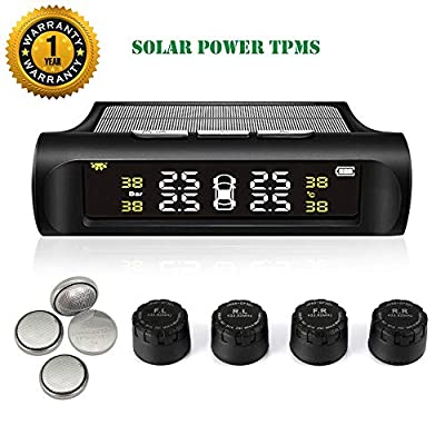 TPMS Tire Pressure Monitoring System Solar Power Universal Wireless Car Alarm System LCD Display with 4 External Sensors (Solar Power_External TPMS): Automotive