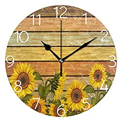 MOYYO Autumn Sunflowers On Wooden Board Wall Clock Silent Round Wall Clock Battery Operated Creative Decorative Clock for Kids Living Room Bedroom Office Kitchen Home Decor
