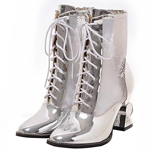 a4910913cf1e8e AIYOUMEI Damen Lackleder mit Netzgarn Herbst Stiefeletten mit Schnürung und  6cm Absatz Blockabsatz Elegant Schuhe YYnWT