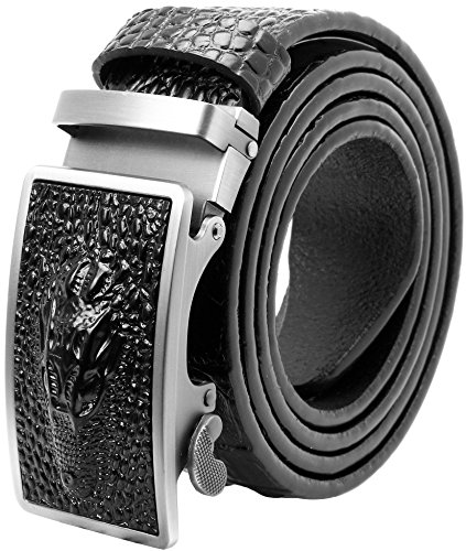 Falari Men's Crocodile Alligator Dress Belt Embossed Genuine Leather Strap Black 7021-BK-L40