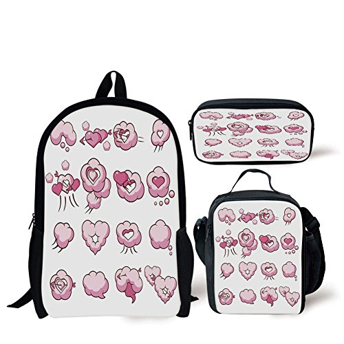 School Lunch Pen Bags,Girls,Cute Heart Shaped Fluffy Valentine Clouds Cupid Love Romantic Lovers Theme Graphic Pattern,Pink,Personalized (Personalized Heart Shaped Pen)