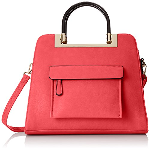 MG Collection Krista Structured Handle Tote Shoulder Bag, Coral, One Size