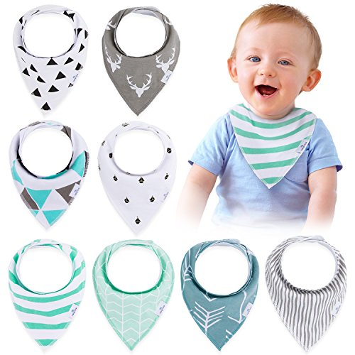 Organic Cotton Bib (Baby Bandana Drool Bibs(8-Pack Set) - Unisex Stylish Design for Boys & Girls, Highly Absorbent Soft 100% Organic Cotton With Adjustable Snaps For Teething/Drooling/Feeding, Perfect Baby Shower Gift)