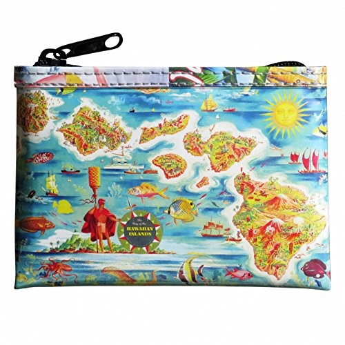Coin purse with vintage Hawaiian map print FREE SHIPPING gift for Luau wallet of dance dancing printing prints art poster memories of Hawaii gifts with Aloha Waikiki souvenirs souvenir Maui surf -