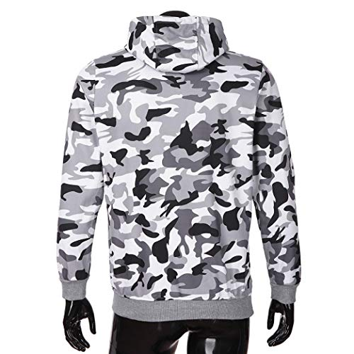 Mens Autumn Camouflage Sweatshirt,Todaies Mens Zipper Pullover Long Sleeve Hooded Tops Blouse