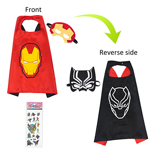 MIJOYEE Double-Sided Design Superheros Cape and Mask for