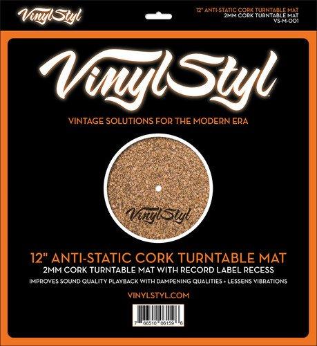 12' ANTI-STATIC CORK TURNTABLE MAT Vinyl Styl 10061596