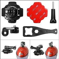 Fantaseal 5-in-1 360 Degree Action Camera Helmet Rotary Mount Kit Adhesive Mount for GoPro Helmet Mount for SONY GoPro Hero 5 / 4/3+/3/ Session / SJCAM / Garmin Virb XE