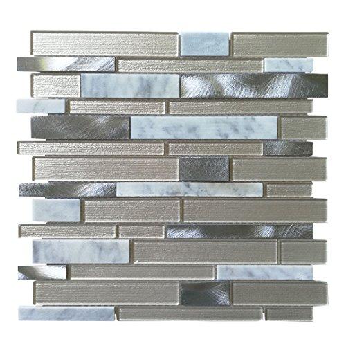 Art3d Glass Mosaic Tile for Kitchen Backsplash / Bathroom Backsplash (10 Pack)
