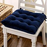 Soft Plush Chair Cushion Dining Seat Chair Pad with Corner Ties (blue)