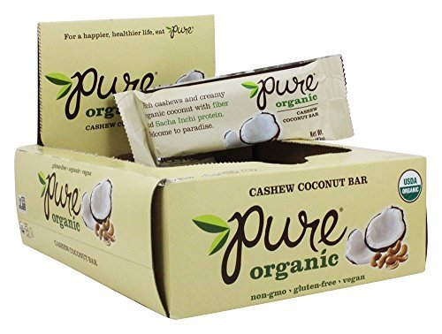 Pure Organic Cashew Coconut Bar, Gluten-Free, Certified Organic, Non-GMO, Vegan,  Kosher, Plant Based Whole Food Nutrition Bar, 1.5 ounce (Pack of 12)
