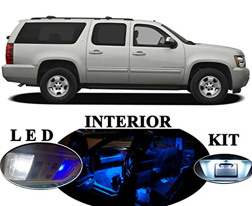 LED lights for Chevrolet Chevy Suburban Premium Blue LED Package Upgrade - Interior + License plate / Tag + Vanity / Sunvisor (13 pieces)