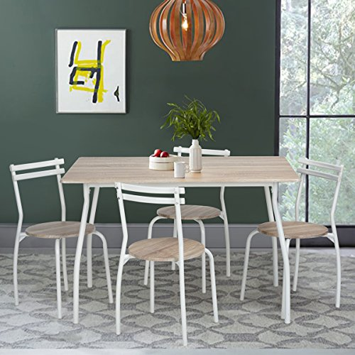 WOHOMO Dining Set Table and 4 Chairs Home Kitchen Furniture, White
