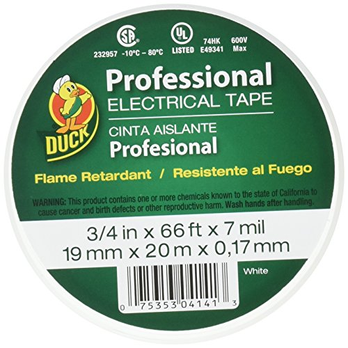 Duck Brand 300877 Professional Grade Electrical Tape, 3/4-Inch by 66 Feet, Single Roll, White