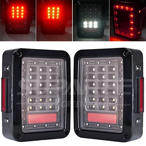 LED Tail Lamp Replacement Tail Lights Brake Reverse Lamps for 2007-2015 Jeep Wrangler JK (7 Led Tail Light)