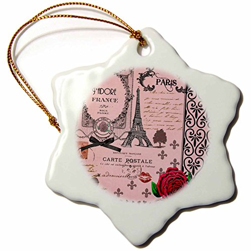 3dRose orn_76593_1 Stylish Vintage Pink Paris Collage Art Eiffel Tower Red Rose Girly Gothic Black Bow Snowflake Decorative Hanging Ornament, Porcelain, 3-Inch (Gothic Snow)