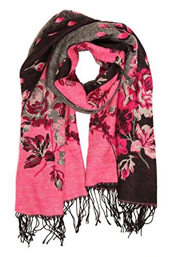Sakkas CHS1810 - Ontario double layer floral Pashmina/ Shawl/ Wrap/ Stole with fringe - 1-Black - OS