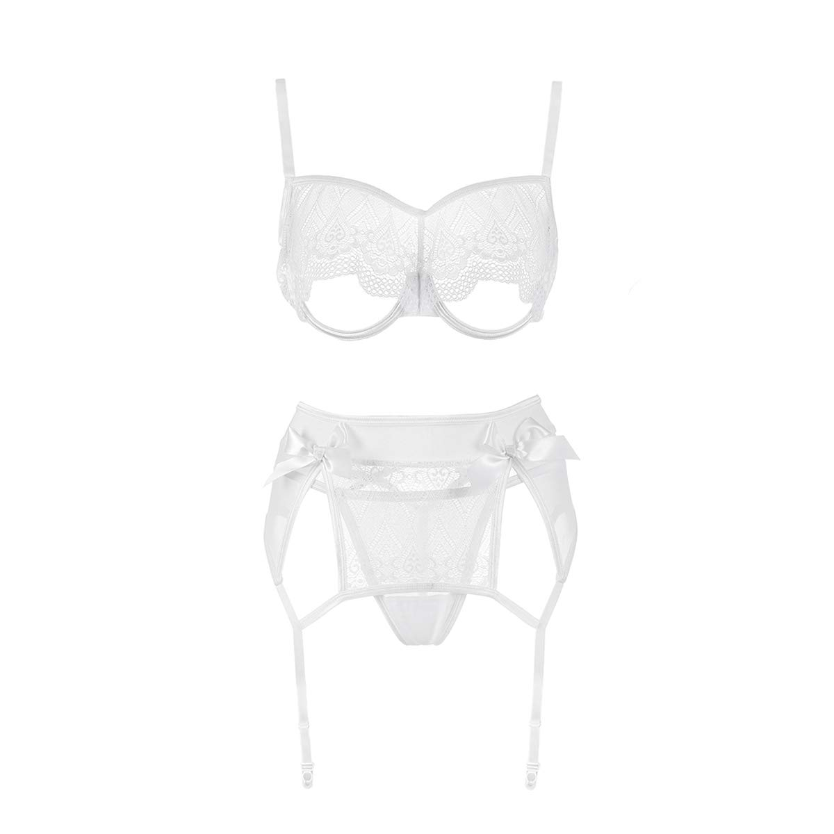 xspice Sexy Lingerie Set for Women, 3 Piece Lingerie for Women with Garter Belts and Thong, Excluding Stockings (M/L, White)