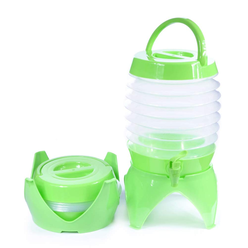 Vaughenda Folding Water Dispenser, Portable 5.5L Drinks Container with Tap for Outdoor Camping Picnic Party - Green