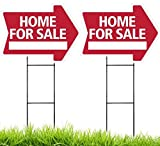 HOME FOR SALE Arrow Shaped Sign Kit - 2 Pack (includes 2 signs and 2 stakes) (Red)