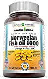 norwegian fish oil - Amazing Omega Norwegian Fish Oil - 1000 Mg, Softgels - Supports anti-inflammatory, heart, joint & brain health (Orange, 250 Softgels)