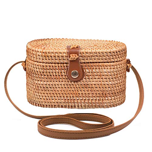 Handwoven Round Rattan Bag Shoulder Leather Straps Natural Chic Hand Gyryp (Leather buttons(oval))