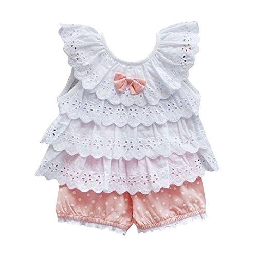 Comemall Kids Baby Girls Tops Polka Dot Lace Shirts T-shirt Shorts Pants Outfits Sets (18-22months, Pink) (Asian Baby Girl)