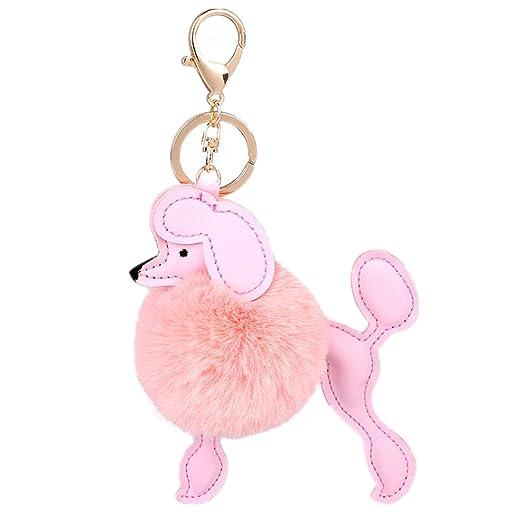 Cute Poodle Dog Key Chain Faux Fur Pom Pom Keyring Bag Accessory Ornament  Charms Pendant
