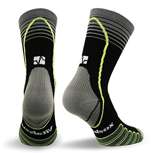 Vitalsox VT6810 Italian Made Compression Ligament Support Sport Crew Socks with Silver DrystatItalian, Medium, Black (1 pair Fitted)
