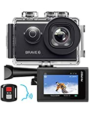 AKASO Brave 6 Action Camera, Voice Control 4K HD 20MP Underwater 30m EIS Cam with Remote Control, Waterproof Case, 2 Rechargeable Batteries and Mounting Accessories Kit