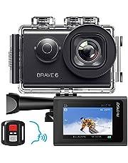 AKASO Brave 6 Action Cam 4K 20MP WiFi spraakbesturing IIS anti-shake 30 meter waterdicht onderwatercamera afstandsbediening 6X Zoom Sports helmcamera met 2 batterijen en accessoires voor helmkit