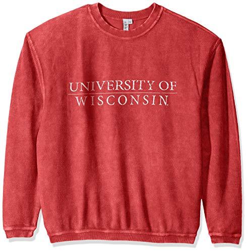 (chicka-d NCAA Officially Licensed University Wisconsin Ladies Corded Crew Sweatshirt/Oversized Sweater- Wisconsin Badgers Women's Apparel)