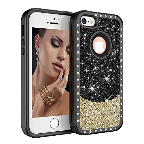 iPhone SE/5S/5 Case, UZER Three Layer Shockproof 3D Handmade Luxury Hybrid Beauty Crystal Rhinestone Glitter Sparkle Bling Diamond Hard PC Soft Silicone Combo Case Cover for iPhone SE/5S/5