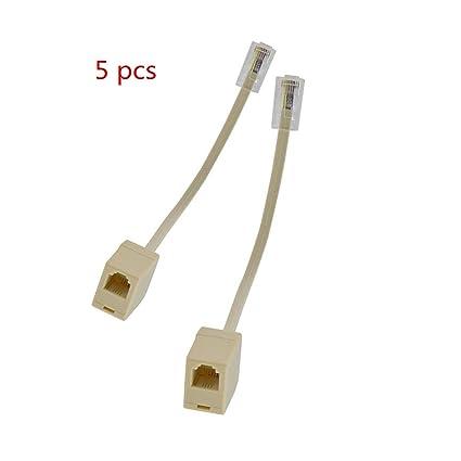 How To Attach Phone Plug To Wire: Amazon.com: 5Pcs Beige RJ45 8P4C Male Jack Plug Cord to RJ11 6P4C rh:amazon.com,Design