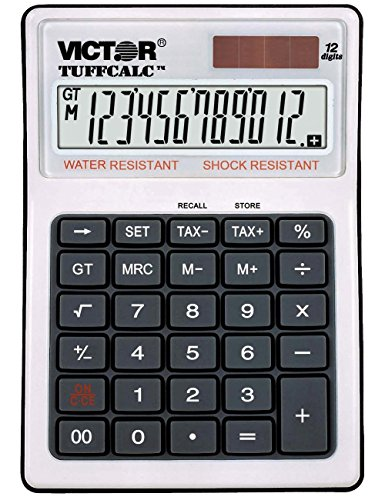 Victor 99901 12-Digit TUFFCALC Calculator, Battery and Solar Hybrid Powered LCD Display, Shock and Water Resistant, Perfect for Restaurants, Construction Sites, Labratories and More