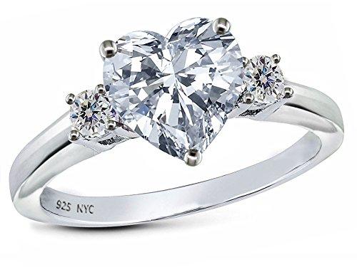Star K 8mm Heart Shape Genuine White Topaz Ring Sterling Silver Size 6