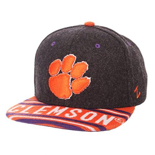 Zephyr NCAA Clemson Tigers Men's End Zone Snap Snapback Hat, Adjustable, Grey/Team Color