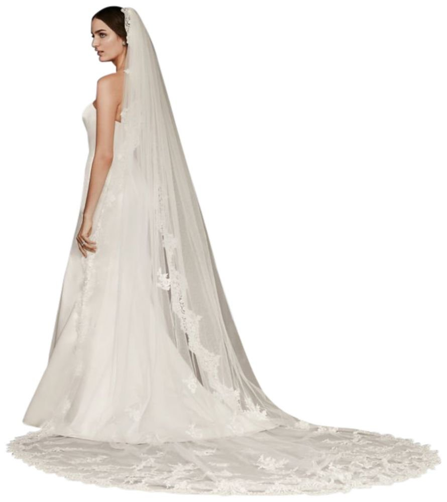 Cathedral Veil with Sequined Lace Appliques Style WPD20244, White