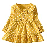 One Shoulder Dress Casual,Toddler Baby Girls Long Sleeve Solid Ruched Floral Dressed Clothes,Baby Girls' Novelty Clothing Sets,Yellow,3-4T