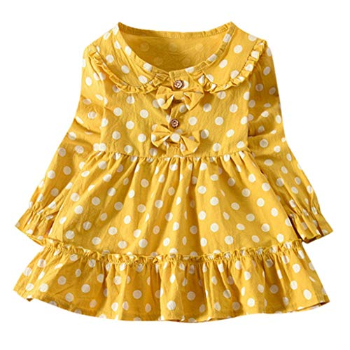AutumnFall 12M-4T Clothes Baby Kids Girls Long Sleeve Ruched Dot Double Bow Toddler Dresses (Age:2-3Years, Yellow)]()